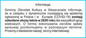 Informacja dotycząca obozów letnich 2020.